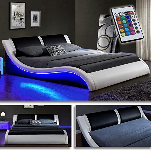 DI-LIFESTYLE Kentucky Weiss/Schwarz Doppelbett Polsterbett LED Bett Lattenrost Kunstleder (160cm x 200cm)
