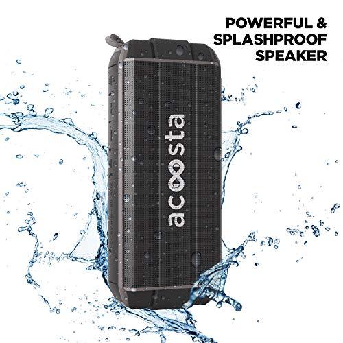 ACOOSTA BOLD 370, IPX5 Waterproof, Portable Wireless Bluetooth Speaker with Bass, 3600 mAh Battery (Upto 24hrs of Playback), True Wireless Stereo, Built in Mic, SD Card & Aux (Black)