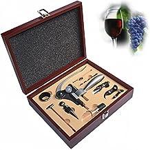TODO VINO Set de accesorios para 9piezas–incluye aireador de vino, conejo palanca sacacorchos, elegante negro caja, boda/aniversario regalos