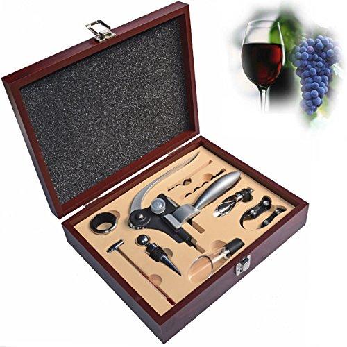 Alles Wein Zubehör Set 9Stück?inklusive Wein Luftsprudler, Kaninchen Hebel Korkenzieher, elegant black box, Hochzeit/Jahrestag Geschenke