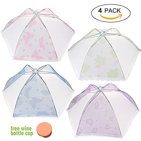 Large Pop-Up Mesh Screen Food Cover TentUmbrella 4 Pack, Collapsible Reusable Food Cover Mesh Keep Out Flies, Mosquitoes,