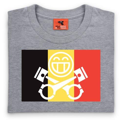 PistonHeads Belgium T-Shirt, Herren Grau Meliert