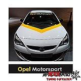 Opel Motorsport plus Blendstreifen 130cm Sonnenschutz Scheibe Aufkleber Frontscheibe Aufkleber Tuning Scheibe Lack TYP-MRS377 `+ Bonus Testaufkleber