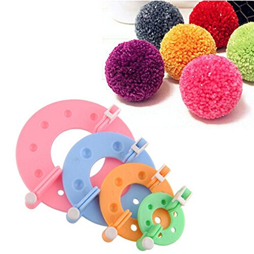 CanVivi Pompon maker DIY Pompoms Handwerk Puppe Making Kits Fluff Kugelweber mit 4 - Pom-pom Kit Maker