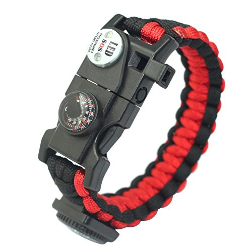JUNERAIN Outdoor Multifunktionales Paracord Survival Armband mit Kompass Thermometer