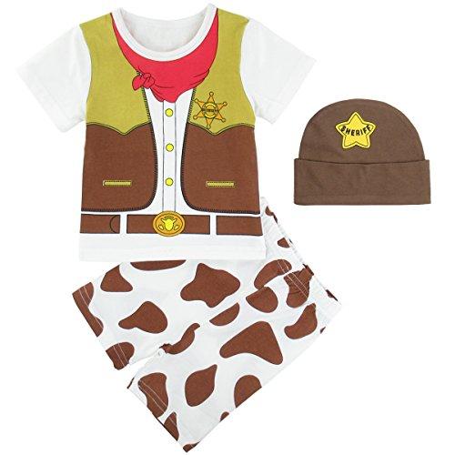 Mombebe Bambino Ragazzino Cowboy Costume Abbigliamento Set con Cappello (Cowboy, 18-24 Mesi)