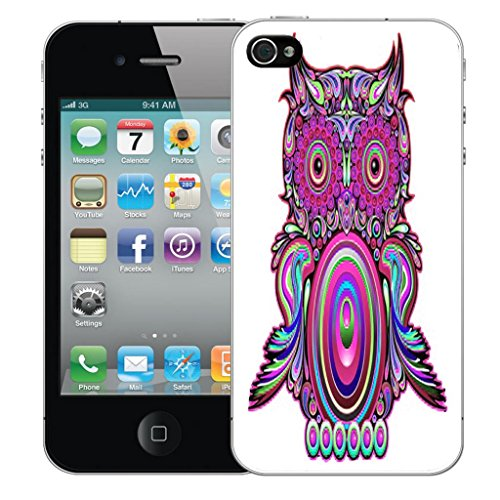 Nouveau iPhone 4s clip on Dur Coque couverture case cover Pare-chocs - cheerful floral Motif avec Stylet clockwork owl