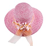 Leisial Cappello di paglia fiore Decorazione Cappello Estivo Anti-UV Cappello femminile di estate,Rose,56-58cm