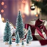 zaote 7 Stück Künstlicher Weihnachtsbaum, Mini Grün Tannenbaum,Naturgetreuer Christbaum Für Tischdeko, DIY, Schaufenster cosy