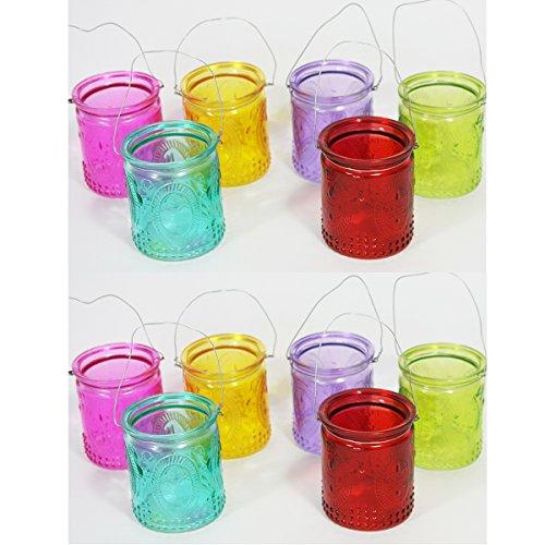 Annastore 12 Stück Windlichter aus buntem Glas mit Henkel
