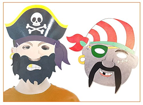 6 Piraten Masken für Kinder zum Ausmalen ideal als Kostüm für Fasching, Kinderparty Geburtstag Mottoparty pirates Karneval (Kreative Beschäftigung Kostüme)