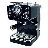 ARIELLI KM-501B Macchina Caffè Espresso Macinato/Cialde 2 Filtri per 1/2 tazze Vaporizzatore per tè o cappuccino Sistema di sicurezza Termometro 1100W 15bar 1.25L (Nera)