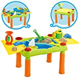 deAO Tavolo da Gioco con Acqua e Sabbia attività per Bambini all'Aperto Tavolo con Due Compartimento e Copertura Doppia Include 12 Accessori