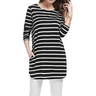 Allegra K Women's Stripes Long Sleeves Pockets Loose Tunic Top XL Black