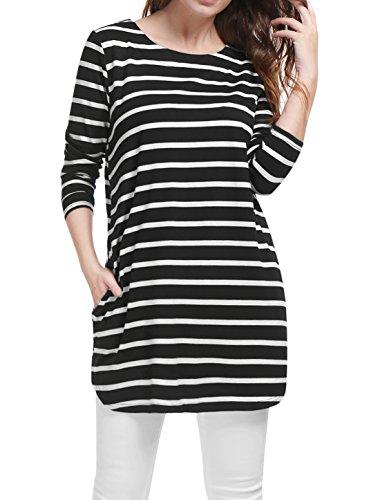 Allegra K Women's Pockets Long Sleeves Loose Striped Tunic Top