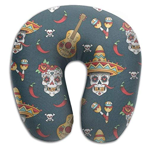 EighthStore U-förmiges Kissen Happy Halloween Floral Sugar Skulls Portable Neck Pillow U Shaped Airplane Travel Pillow for Neck and Head Support