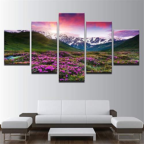 Whian Öl Gemälde Auf Leinwand Für Home Dekoration 100% Handgemalt Modernes Leinwand Wand Art Decor DIY 5 Pcs/Set Berg Und Blumen 100x40 80x40 60x40(cm) Rahmenlos