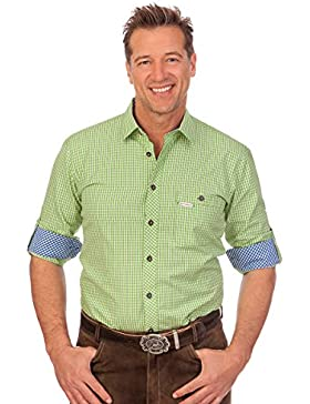 H1668 - Trachtenhemd mit langem Arm - DENVER - grün, türkis