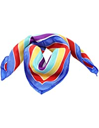 Blue Hem Colorful Stripes Printed Polyester Neck Scarf Kerchief for Women