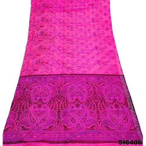 Vendimia Indio Sari De Seda Mezcla De Color Rosa Vestido De Flores Las Mujeres Ocasionales Desgaste Envuelven Bollywood Decoración Sari Velo 5Yd