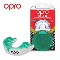 OPRO Gold Level Mouthguard Gum Shield for Rugby, Hockey And Other Contact and Combat Sports (White/Mint, Kids)