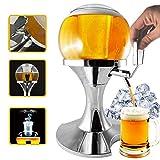 Spillatore Birra Sferico Con Vano Ghiaccio da 3,5 Litri, Infusione Birra e Altre Bevande, Mantieni Liquidi Freschi, Dispenser Refrigeratore Di Bevande E Birra