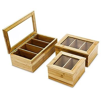 Relaxdays Boîte en bambou pour sachets de thé Rabat à fenêtre Plusieurs compartiments