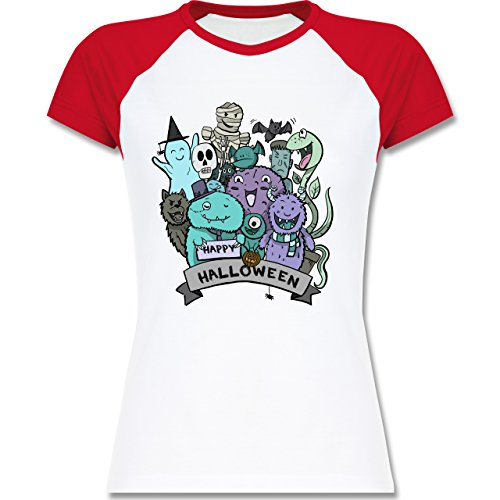 Halloween - Happy Halloween Monster - L - Weiß/Rot - L195 - zweifarbiges Baseballshirt / Raglan T-Shirt für Damen