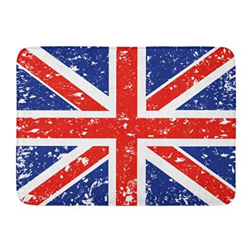 Soefipok Fußmatten Badteppiche Outdoor/Indoor Fußmatte Rote Fahne Union Jack Blau London Britisch England Englisch Abstrakt Badezimmer Dekor Teppich Badteppich