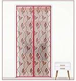 GAIHU Wohnzimmer Schlafzimmer Stille Magnetische Moskito Vorhang Verschlüsselung Beflockung Bildschirm,Red,85*195