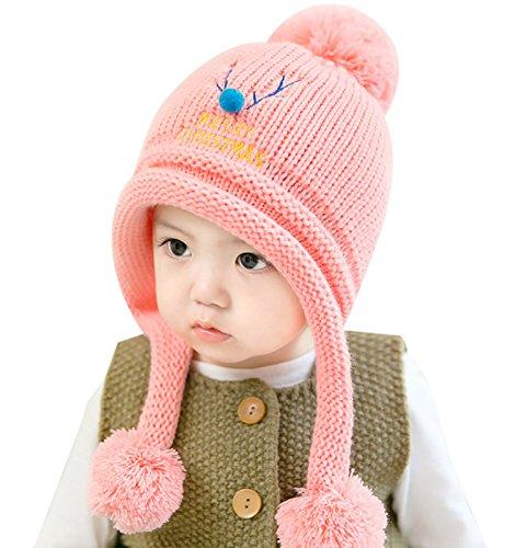 f0efdae91 Berretto in Lana per Bambina Bambino Cappello con Pompon Inverno Autunno  Merry Christmas Regalo di Natale