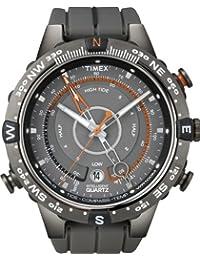 Timex Intelligent Quartz Men's Tide Temp Compass, Grey Dial, Grey Resin Strap, Orange Accents - T449860