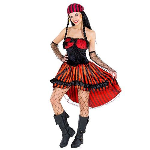 Frauenkostüm Piratin | sexy Kleid + Spitzenarmstulpen & Tüllunterrock | Pirat Seeräuber Verkleidung (M | Nr. 300687)