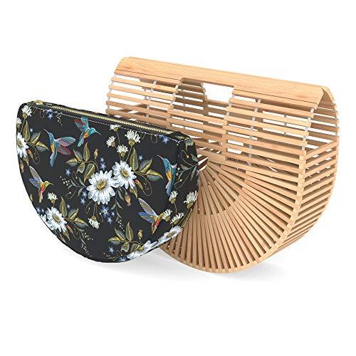 Handtasche aus Bambus, für Damen, mit Geldbeuteleinsatz, handgefertigte Sommertasche - Patent Shopper Tote