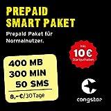congstar Prepaid Smart Paket [SIM, Micro-SIM und Nano-SIM] - Das Prepaid Paket für Normalnutzer in bester D-Netz-Qualität inkl. 10 EUR Startguthaben. Prepaid-Aktion: Prepaid-Karte bestellen & 10 GB Datenvolumen für 30 Tage sichern.