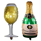 Langxun Aluminum Foil Champagne Bottle Balloons and Goblet Balloons for Birthday Decorations & Party Decorations & Wedding Anniversary Decorations