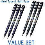 Tombow Fudenosuke Brush Pen - Hard Type & Soft Type Eaah 3 Pens Total 6 Pens Arts Value set (With Our Shop Original Product Description)... by Tombow