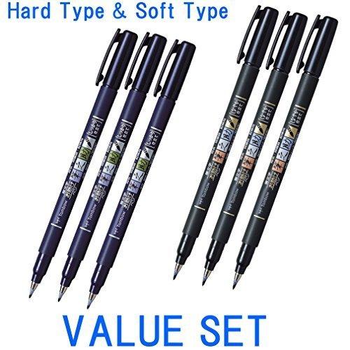 Tombow, Fudenosuke Brush Pen, penna a effetto pennello, set da 6: 3 penne a punta dura e 3 a punta morbida