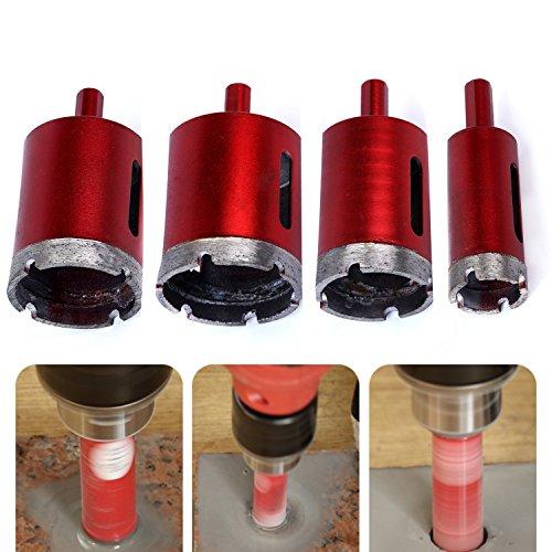 4-teiliges Lochsäge-Set, diamantbeschichtete Bohrkronen (25, 40, 45 und 50mm), für Fliesen, Marmor, Glas, Granit (Diamond Drill Bit)