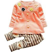Sannysis Baby Mädchen Warme Baumwoll Blumen Lange Hülsen Wolljacke + lange Hosen