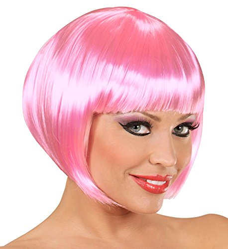 Rosa Flamingo Sexy Kostüm - shoperama Damen Perücke Bob Pagenkopf Flamingo Can Can Showgirl Kostüm-Zubehör Frisur glatt kurz, Farbe:Rosa