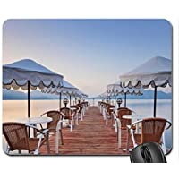 chairs tables and umbrellas on a pier in turkey Mouse Pad, Mousepad (Bridges Mouse Pad)