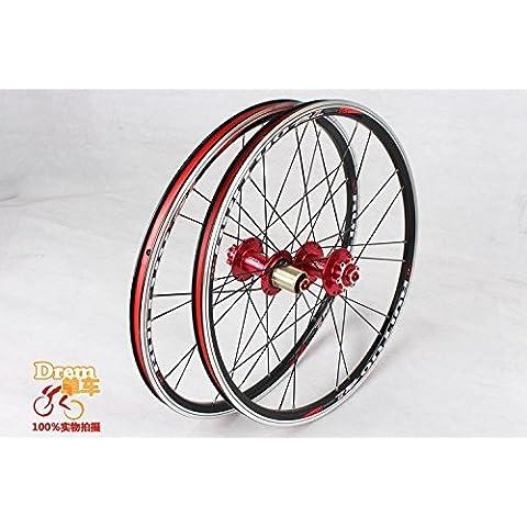 20INCH * 1–3/8V/freno a disco 5Peilin Cuscinetto Ultra liscio luce 451/406Ruote Ruote BXM Bicicletta pieghevole (451Full Rosso 74V130)