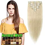 Echthaar Clip in Extensions günstig Haarverlängerung 8 Tressen 18 Clips Remy Human Hair 40cm-65g(#60 Weißblond)