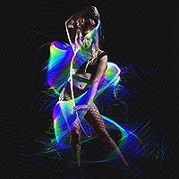 GloFX LED Fiber Optic Space Whip w/ 360 Flow Bearing & Sparkle Glow Rave Lace