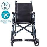 ACEDA Faltbarer Rollstuhl Mit Rutschfest Armlehnen,10Kg Leichter Rahmen Aus Aluminiumlegierung(Kann 100Kg Unterstützen) Transportrollstuhl Reiserollstuhl,
