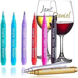 InnoBeta Magink Confezione da 8 Pennarelli Metallici per Bicchieri da Vino, Cancellabili, Atossici, Asciugatura Rapida, Alternativa ai Ciondoli da Vino, Ottimo per Cene, Party, Matrimoni, Banchetti, Balli, Bar ecc.