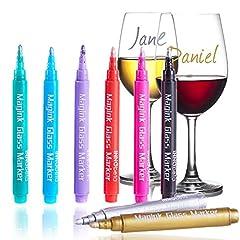 Idea Regalo - InnoBeta Magink Confezione da 8 Pennarelli Metallici per Bicchieri da Vino, Cancellabili, Atossici, Asciugatura Rapida, Alternativa ai Ciondoli da Vino, Ottimo per Cene, Party, Matrimoni, Banchetti, Balli, Bar ecc.