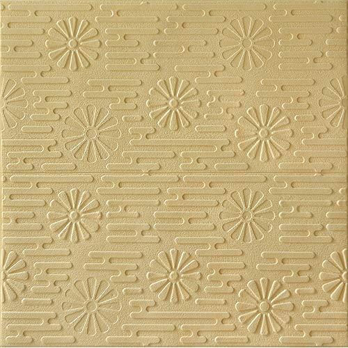 YANGMAN 3D Wandpaneele Pastoral Style Textured Waterproof Foam Yellow Wallpaper Selbstklebender Wandaufkleber für TV-Hintergrund, Kinderzimmer, Kindergarten, 70x70 cm,20pack105.4sq.ft - Textured Foam
