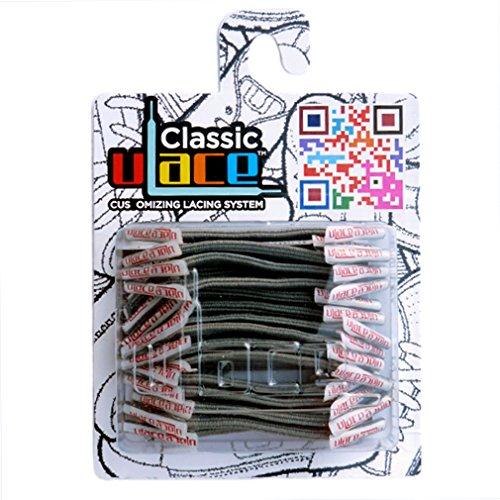 U-LACE - CLASSIC Lacets élastiques multicolores de 7 à 77 ans Adultes Enfants (MEDIUM GRAY)